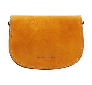 kleine leren handtas geel made in italy